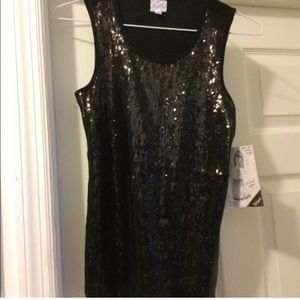 NWT, black sequined tank